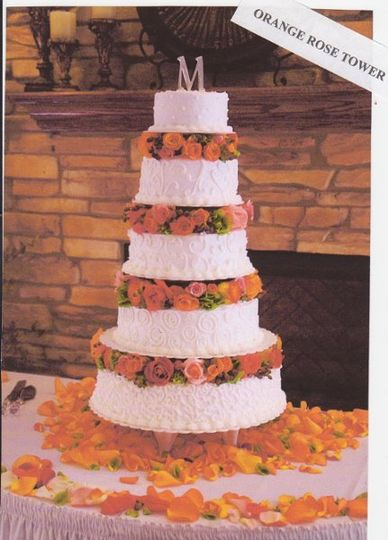 Stacked cake with orange flowers