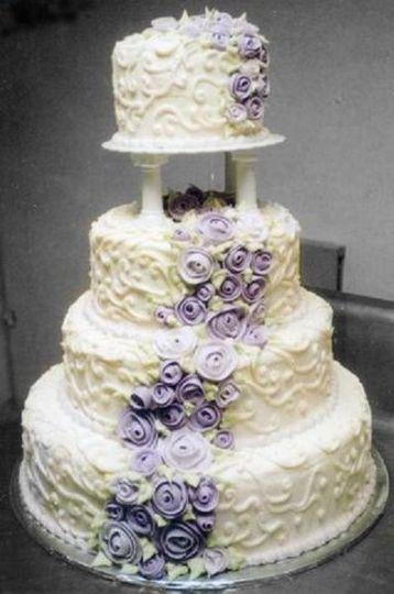 Purple stroke on textured cake