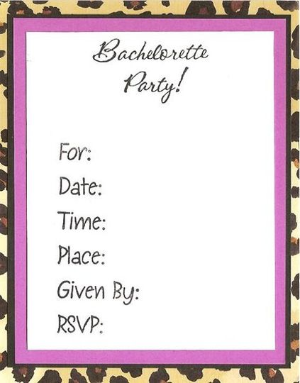 Animal Print Invitation - Grrrrrr! Let your wild side out with this fun Bachelorette Party...