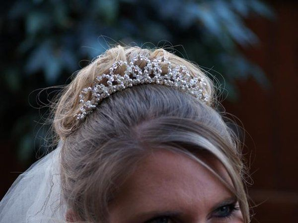 Aurora Tiara - The Aurora tiara is fit for a princess. It is on a comb base and measures 1 1/4 inch...