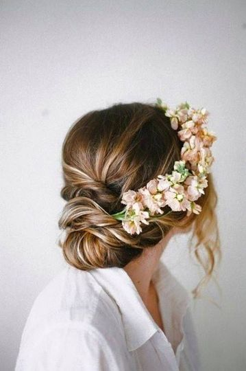 Wedding updo with flower crown
