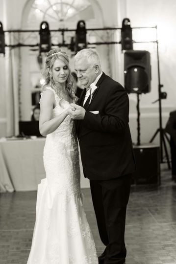 Dancing bride and her father
