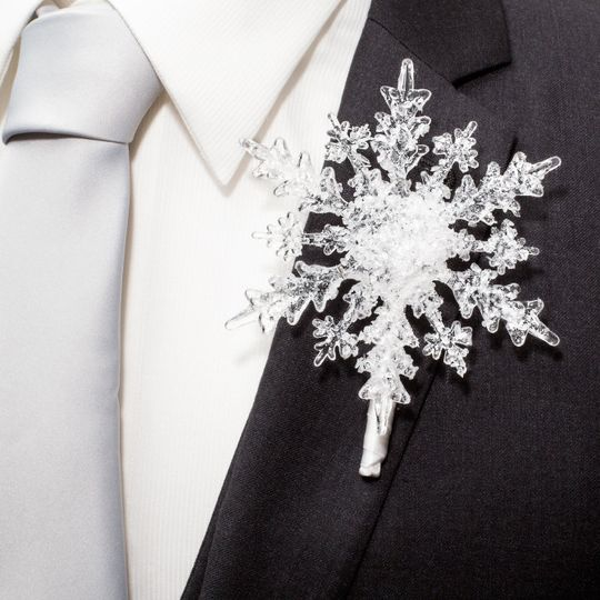 Whimsical and Classy Snowflake Boutonniere