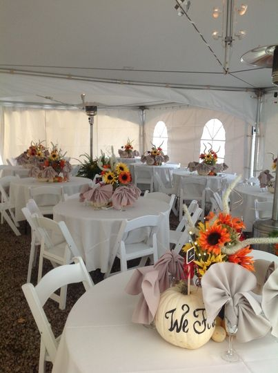 Tent setup and sample centerpieces