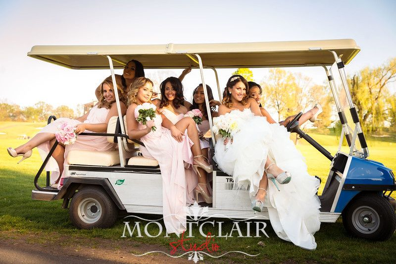 Riding the golf cart