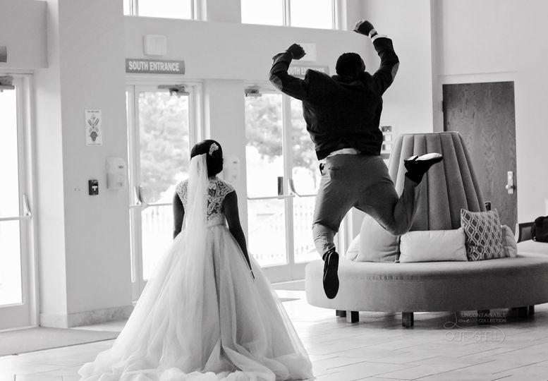 Jumping for joy on the big day