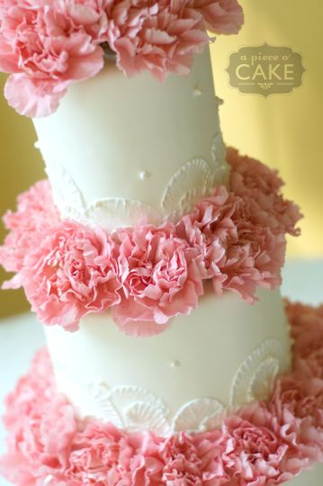 carnation brush embroidery wedding cake