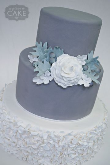 gray garden wedding cake