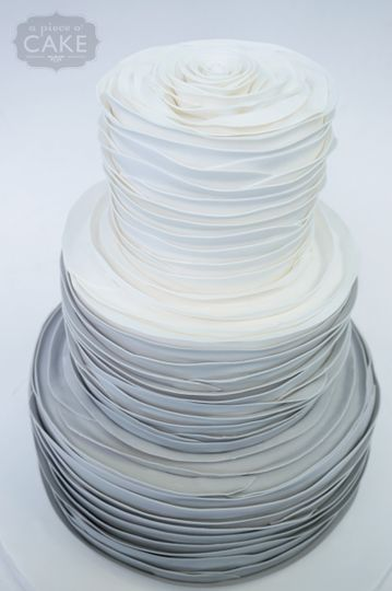 gray ombre rose pleat wedding cake