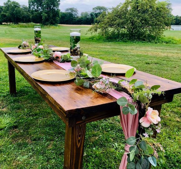 Tablescape with foliage and flowers