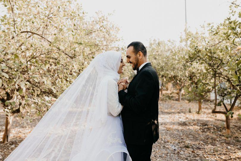 Muslim couple poses