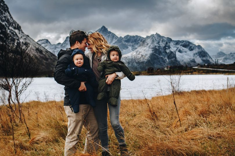 Family hike in Norway
