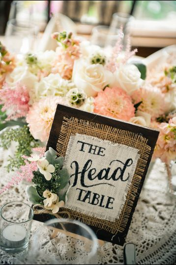 The head table sign