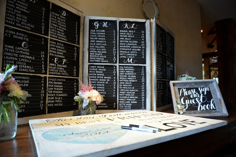 Chalkboard for table assignments