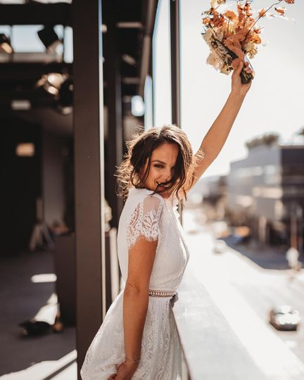 Happy downtown bride
