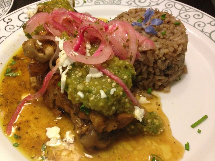 Chicken Salsa Verde w/ Black Bean Rice, Pickled Red Onions & Panela Cheese
