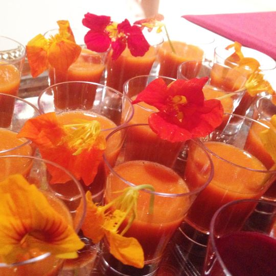 Apricot, Orange, & Vanilla Smoothies w/ Edible Flower Garnish