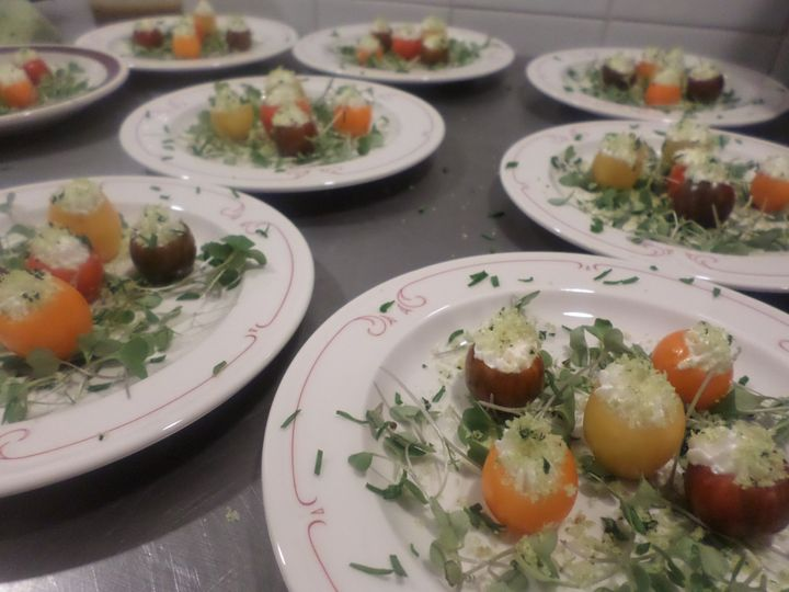 Chevre Stuffed Baby Heirloom Tomatoes w/ Herb-Garlic Crumbs, Micro Kale, & Anchovy Vinaigrette