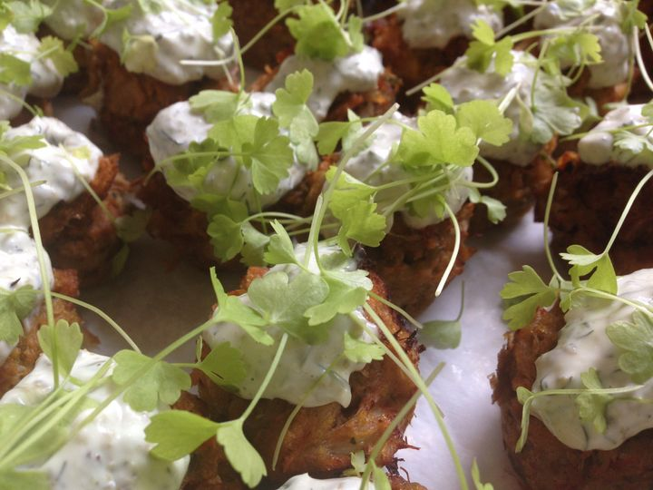 Savory Crab Bread Puddings with Lemon-Caper Aioli & Micro Celery