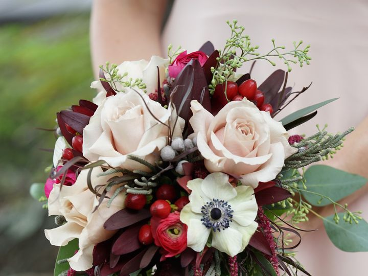 Tmx 1471447559135 Beigeandburgundybridalbouquetenvironmental5 Scranton, PA wedding florist