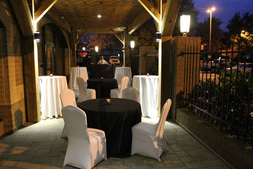 The Patio set with tables, can be used as a cocktail hour area as well