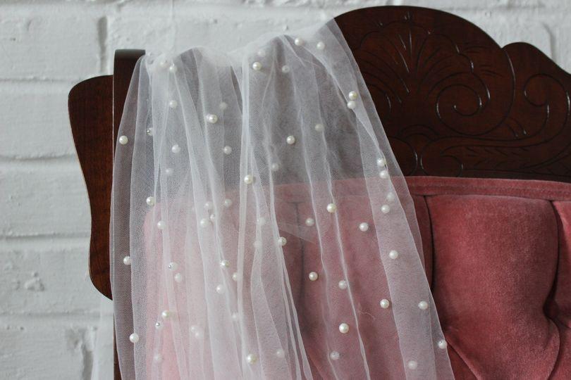Cascading Pearl Embellished Ve