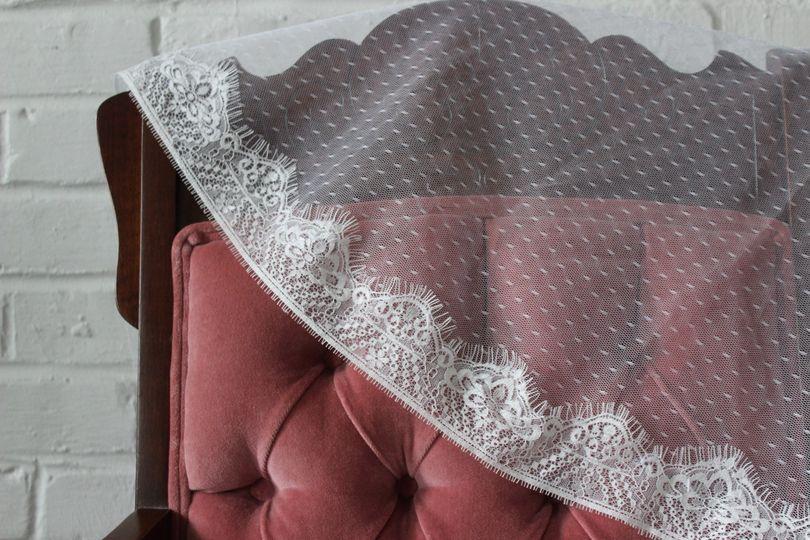 Swiss dot & eyelash lace veil