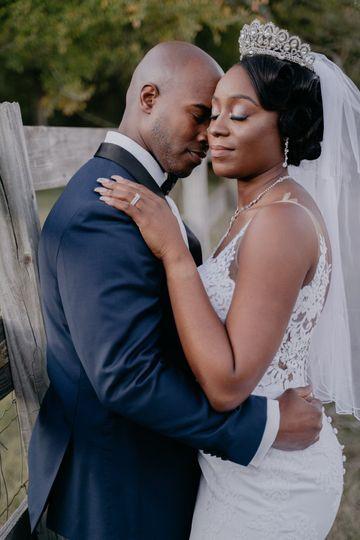 Close-up of newlyweds