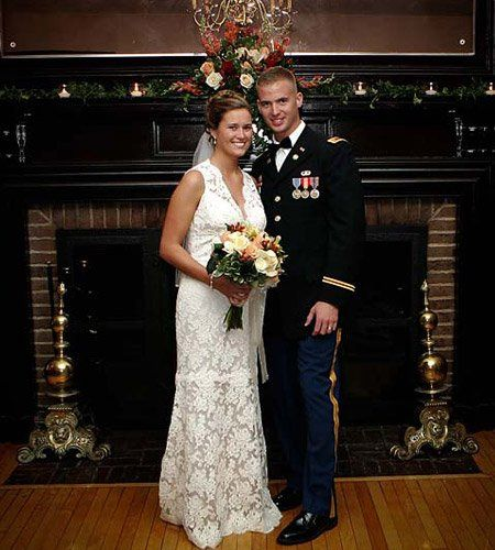 The fireplace allows newlyweds to pose for photographs in a comfortable setting. Many couples take...