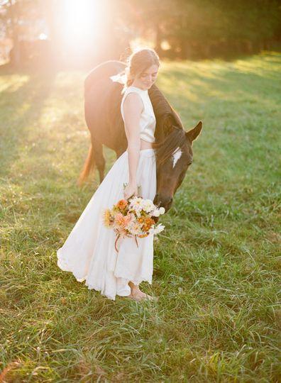 Casual bride on the farm