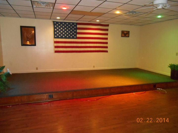 View of stage area, non decorated, customize to your colors and design.