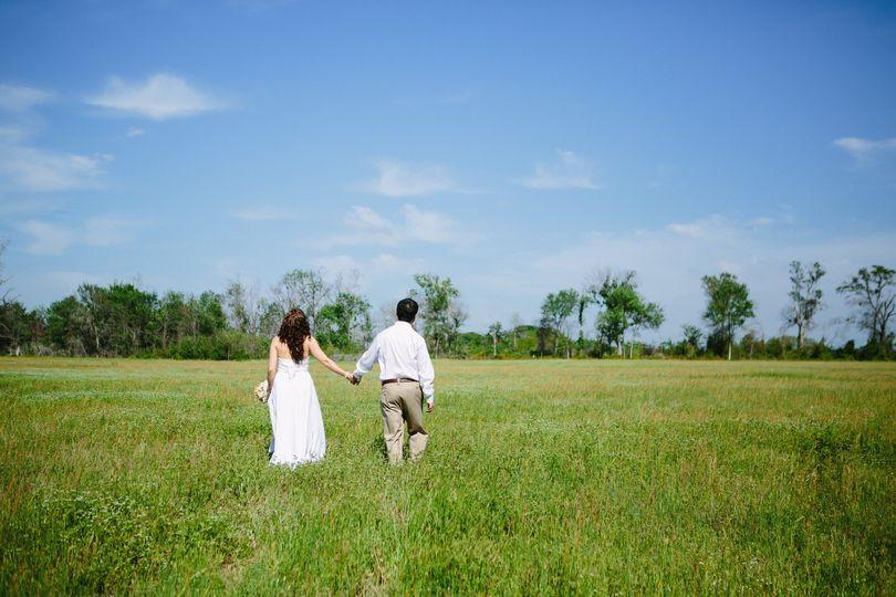 Hand in hand through the fields