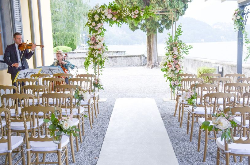 Wedding arch on the lake