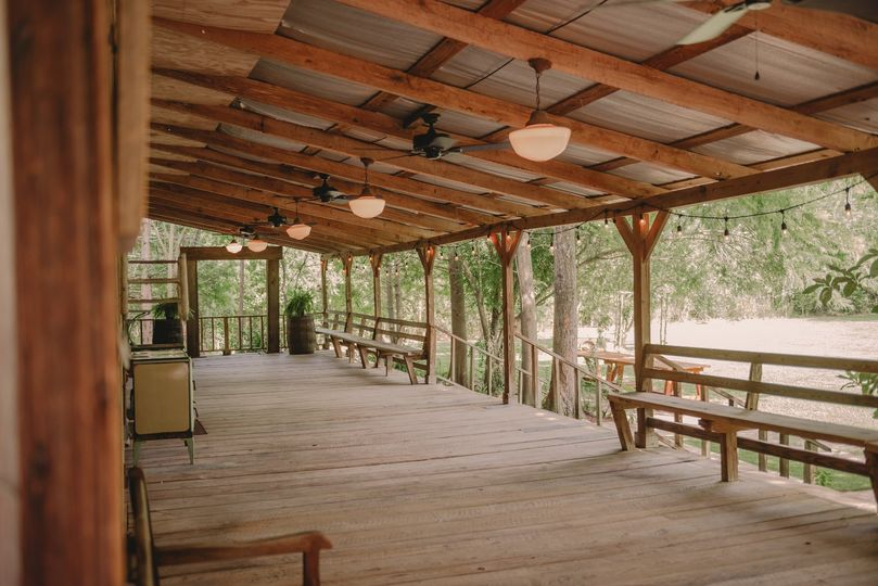 Large cypress covered porch