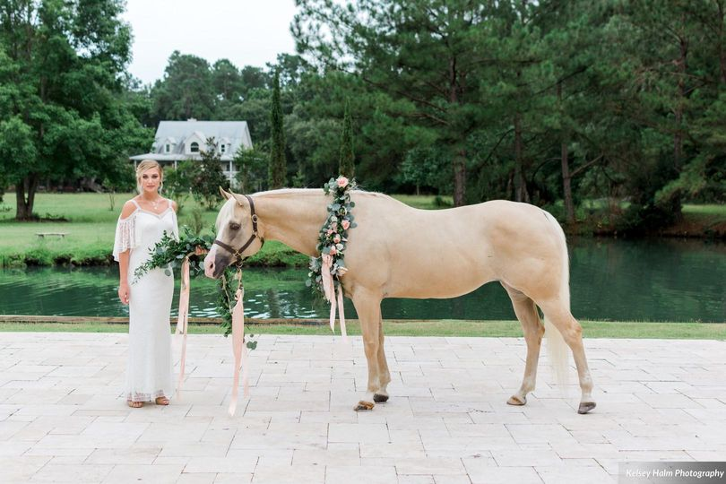 The bride besides a horse