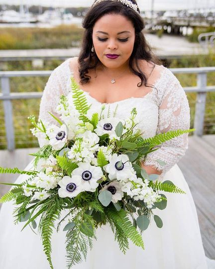 Anemones and greenery
