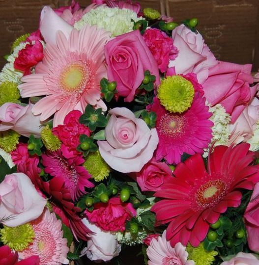 Hot pink & lime green bouquet