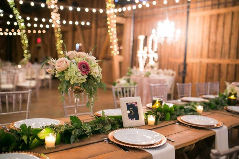 Head table setup and decor