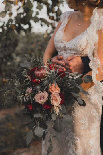 Bride with lush bouquet