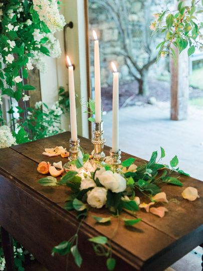 Candles and greenery display
