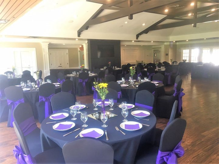 Black linens and purple sashes