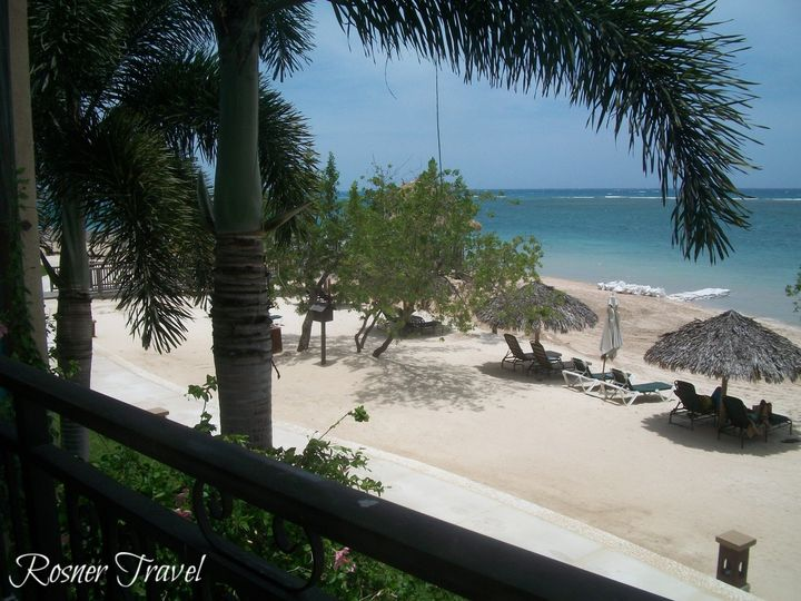 Sandals Whitehouse, Jamaica.  View of beach from Butler Suite balcony.