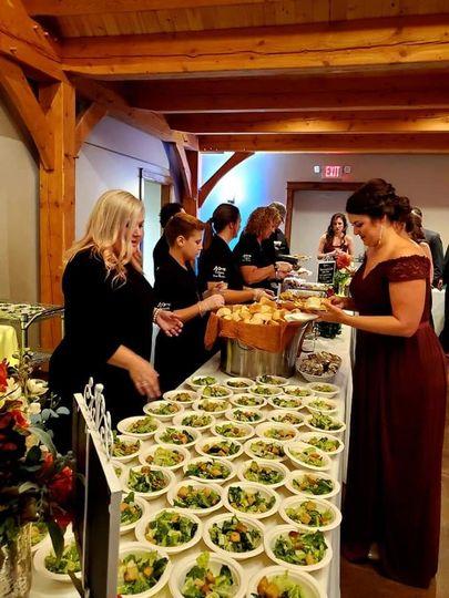 Serving buffet line