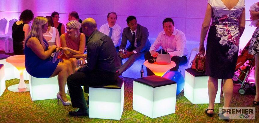 illuminated padded cube seating