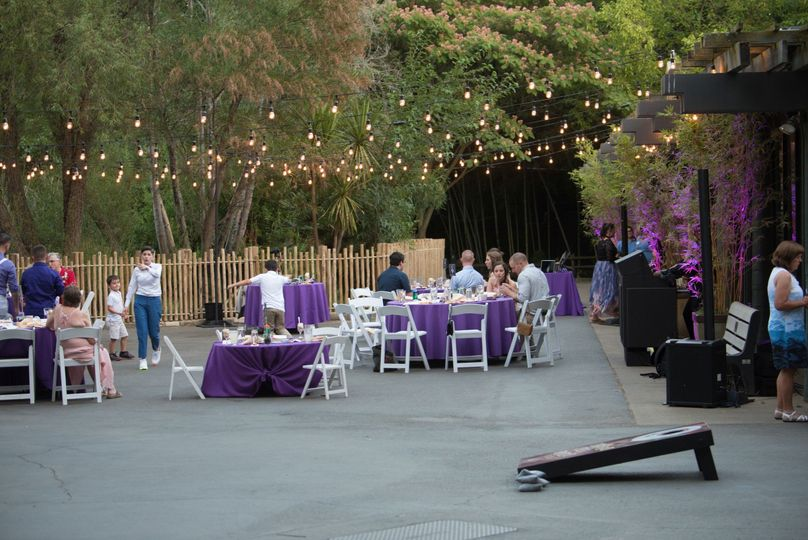 An outdoor table setting