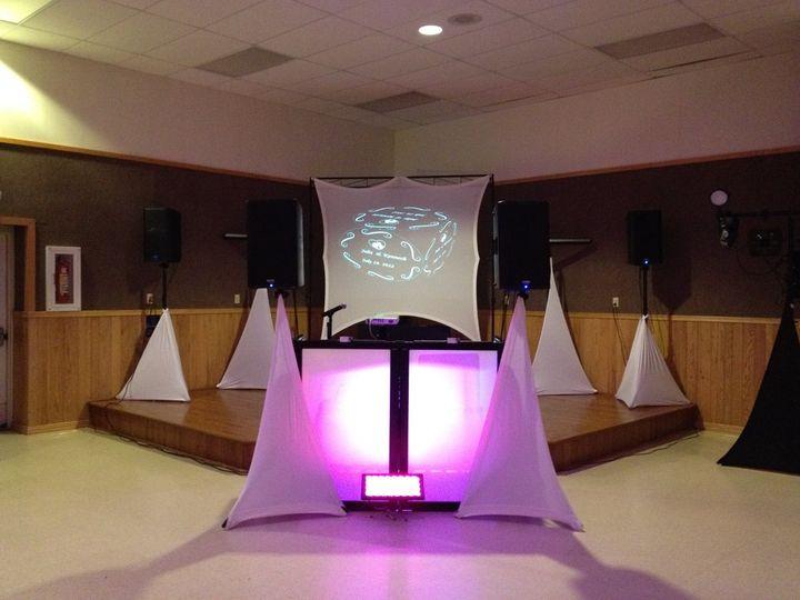 A beautiful wedding DJ setup with the Video screen option