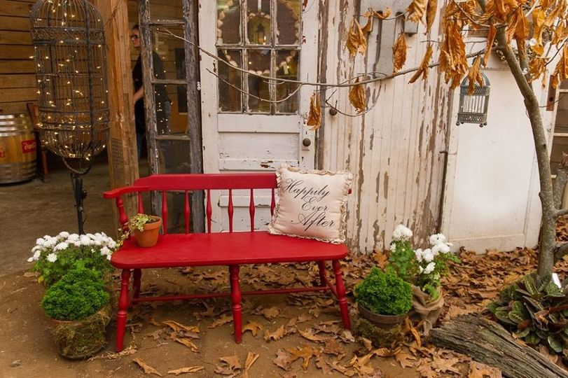 Red bench outdoors