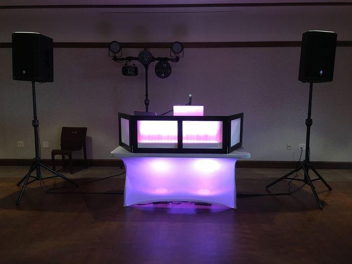 DJ / Light system set up at a wedding reception.