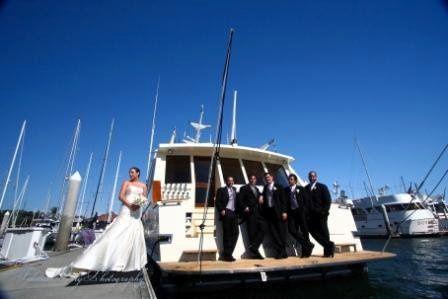 Couple photo with groomsmen