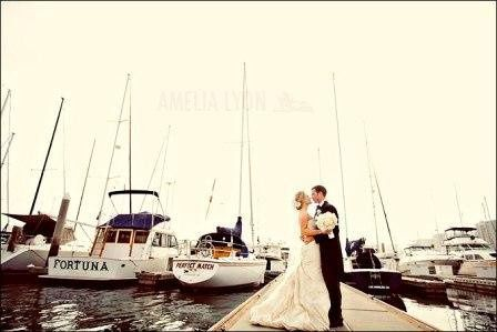 Couple kiss at the dock